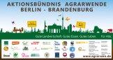 Abbildung des Banners des Aktionsbündnisses Agrarwende Berlin-Brandenburg mit den Logos der Gründer
